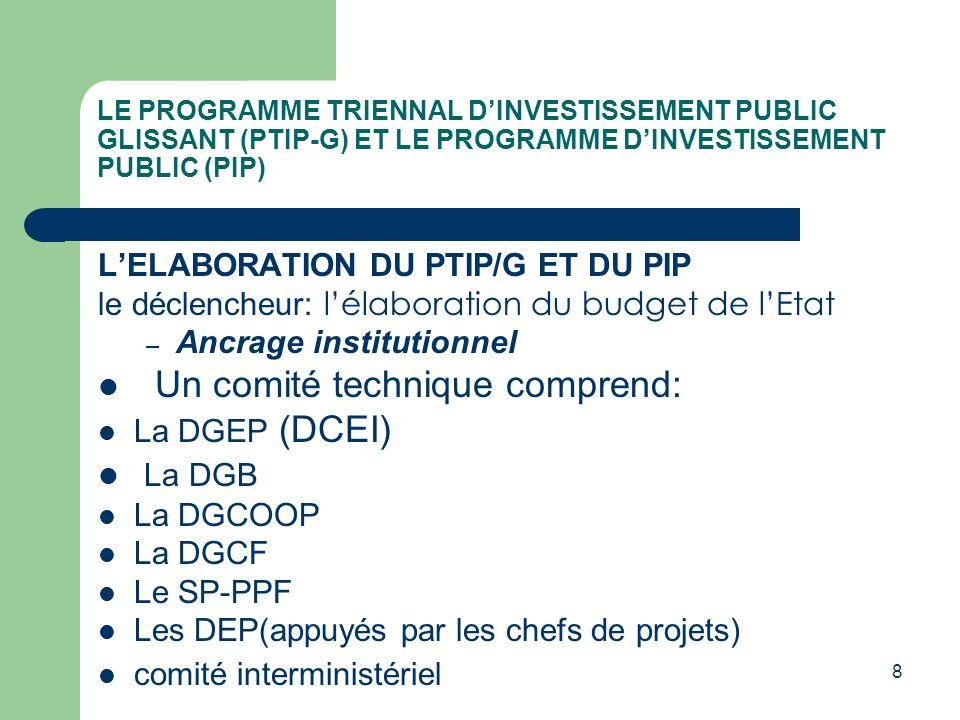 Un comité technique comprend: La DGB