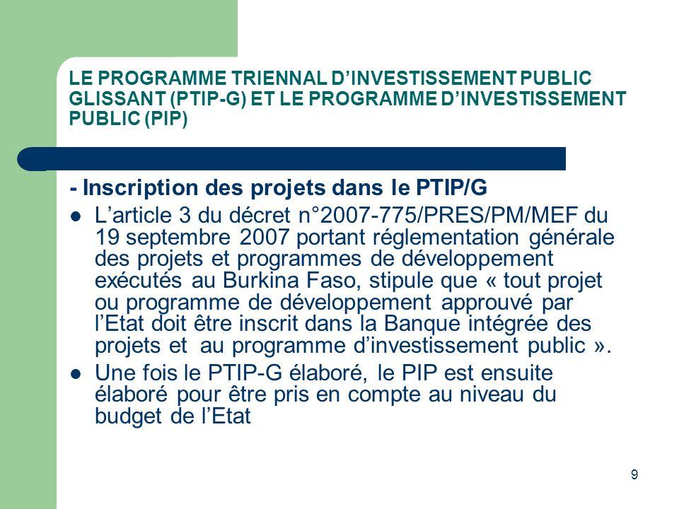 - Inscription des projets dans le PTIP/G