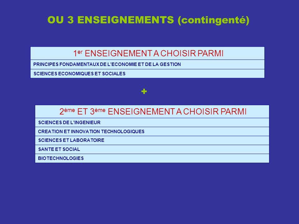 OU 3 ENSEIGNEMENTS (contingenté)