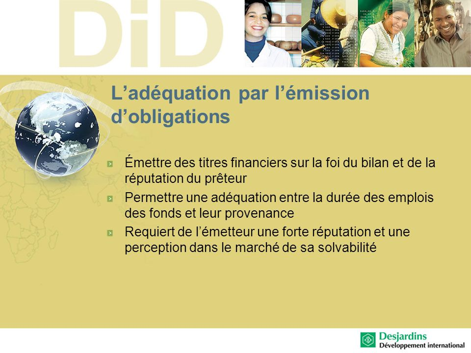 L'adéquation par l'émission d'obligations