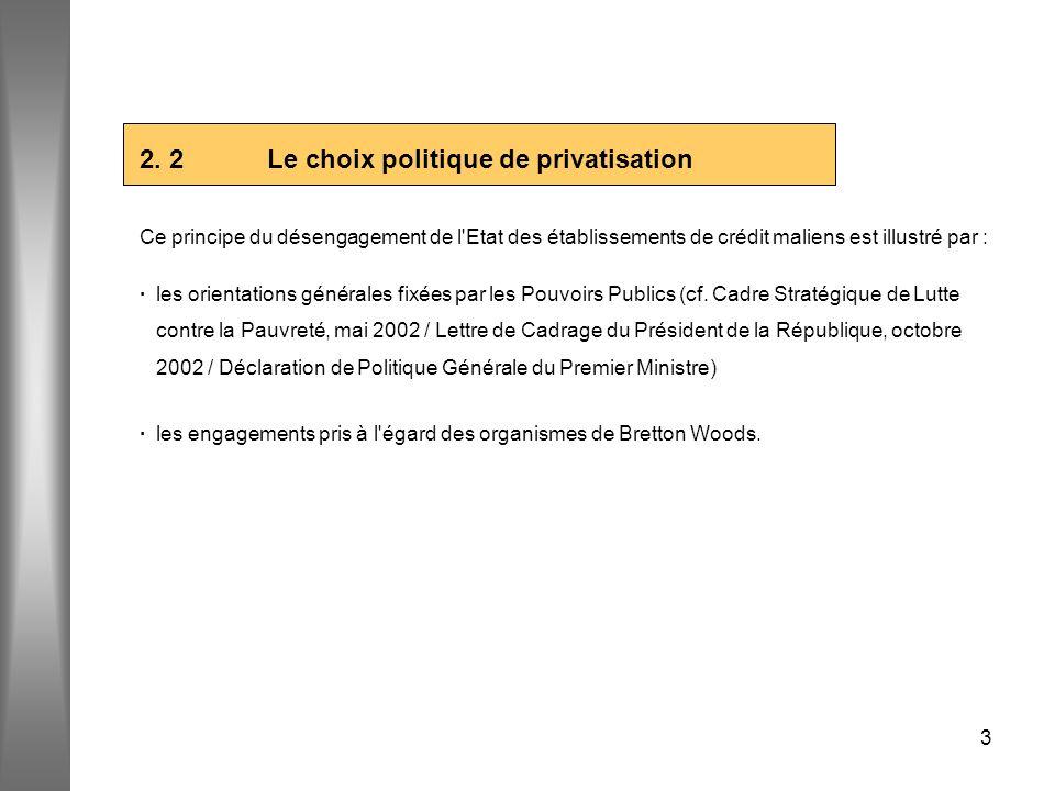 2. 2 Le choix politique de privatisation