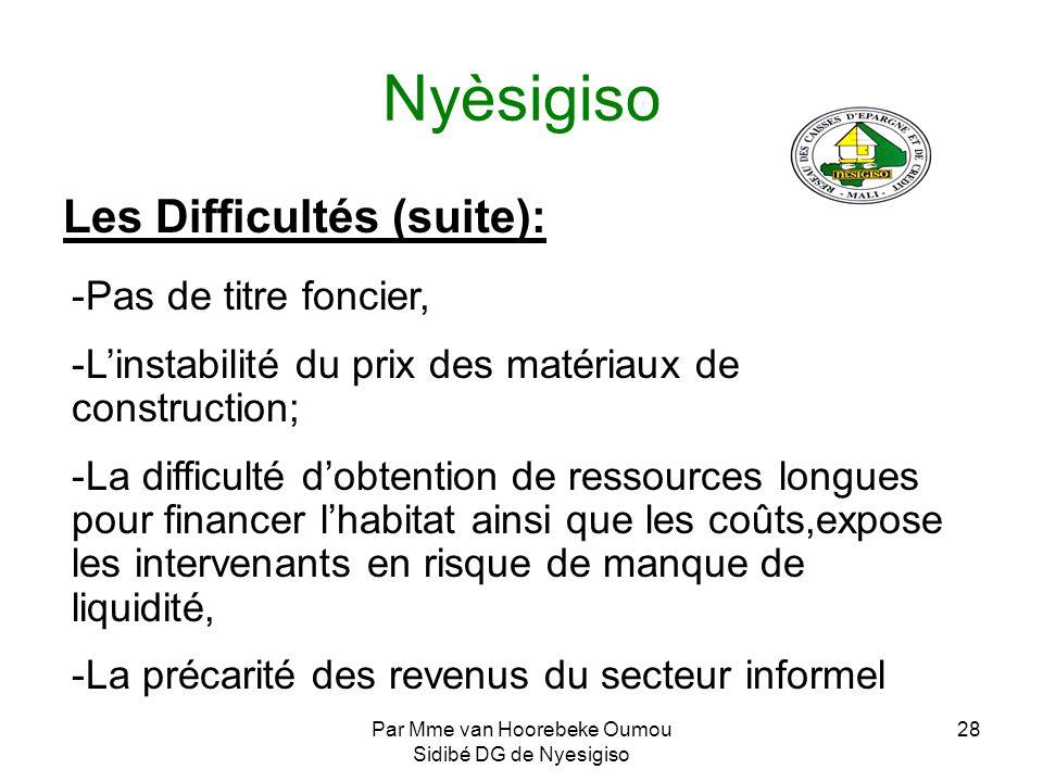 Par Mme van Hoorebeke Oumou Sidibé DG de Nyesigiso