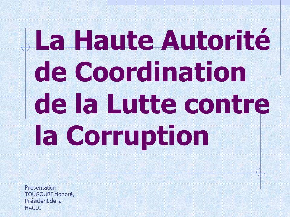 La Haute Autorité de Coordination de la Lutte contre la Corruption