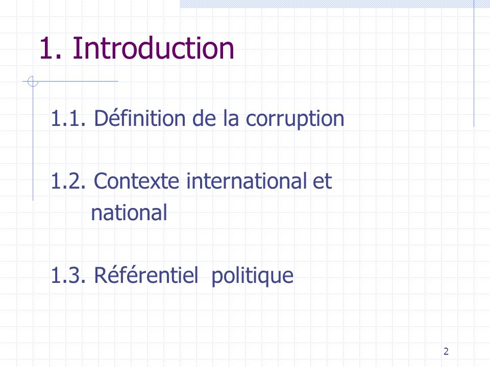 1. Introduction 1.1. Définition de la corruption