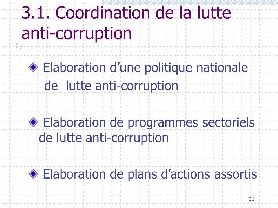 3.1. Coordination de la lutte anti-corruption