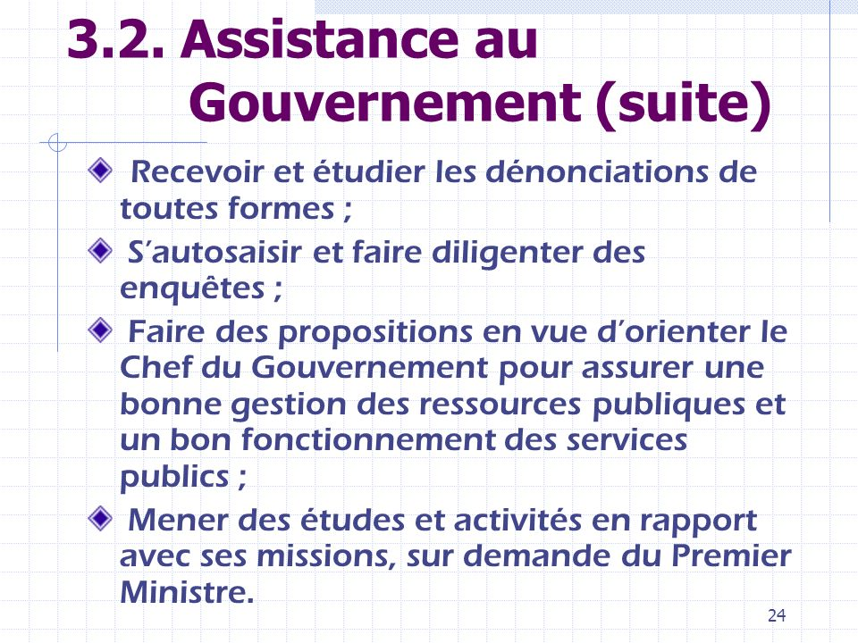 3.2. Assistance au Gouvernement (suite)