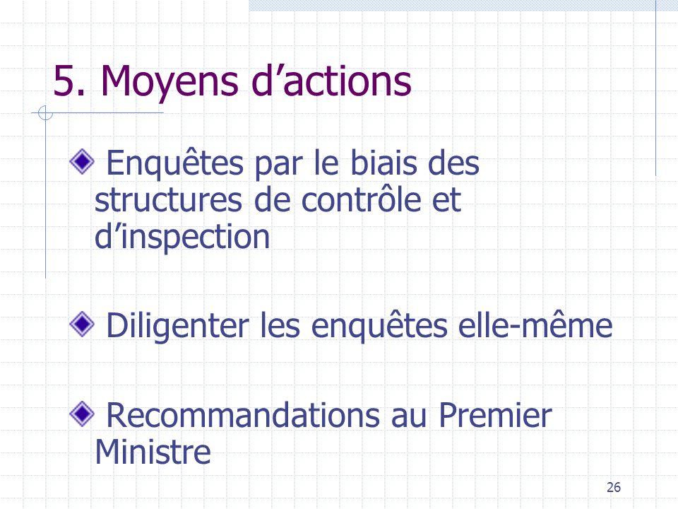 5. Moyens d'actions Enquêtes par le biais des structures de contrôle et d'inspection. Diligenter les enquêtes elle-même.