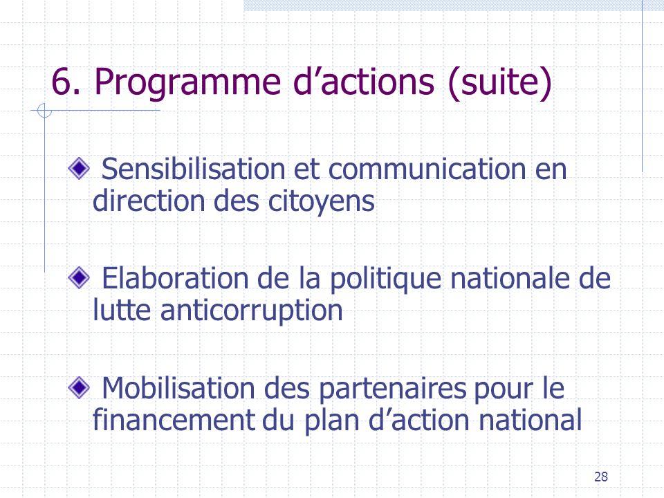 6. Programme d'actions (suite)