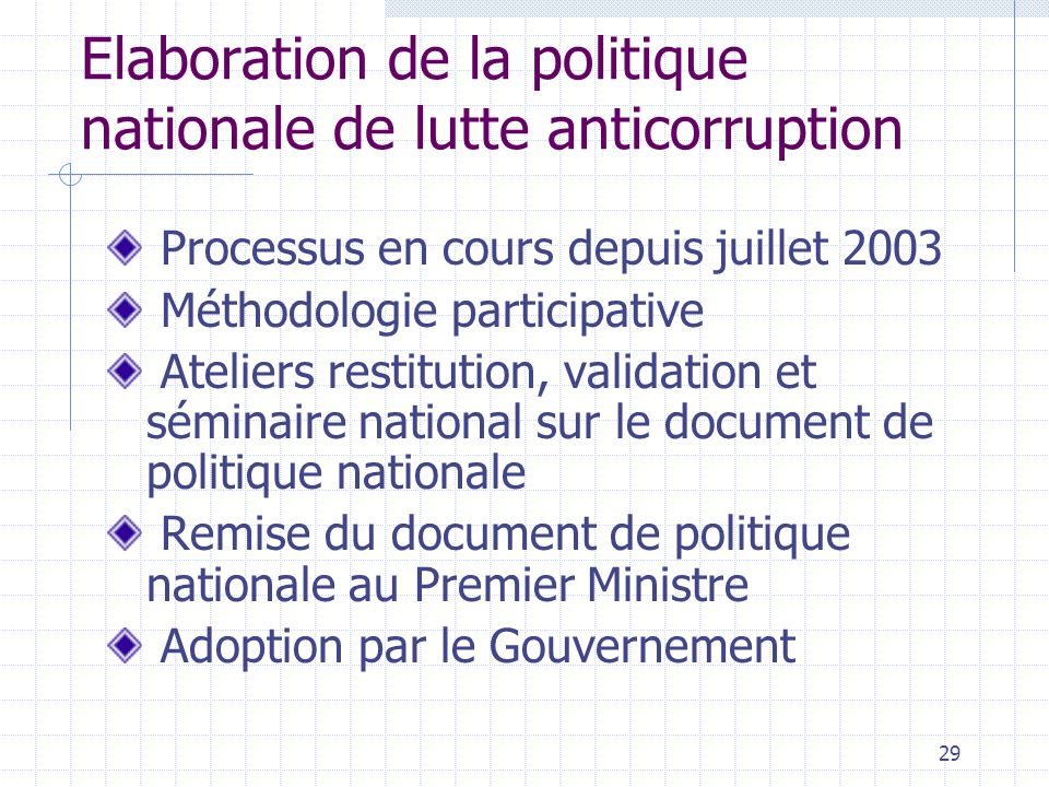 Elaboration de la politique nationale de lutte anticorruption