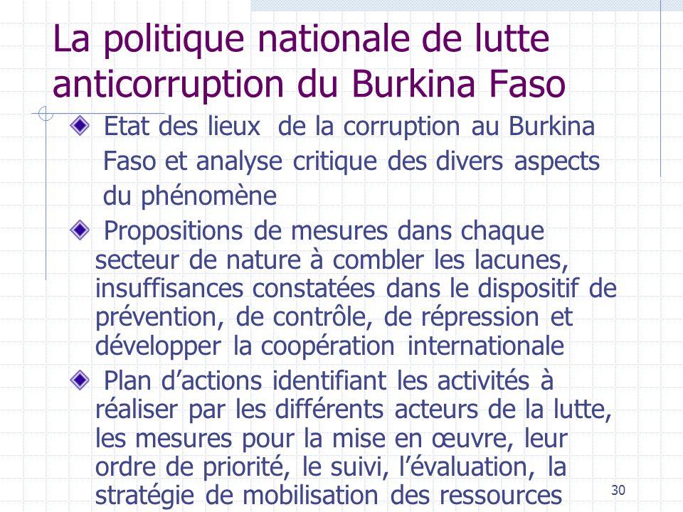 La politique nationale de lutte anticorruption du Burkina Faso