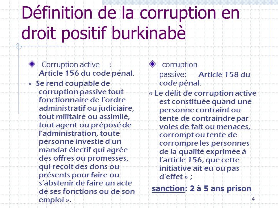 Définition de la corruption en droit positif burkinabè
