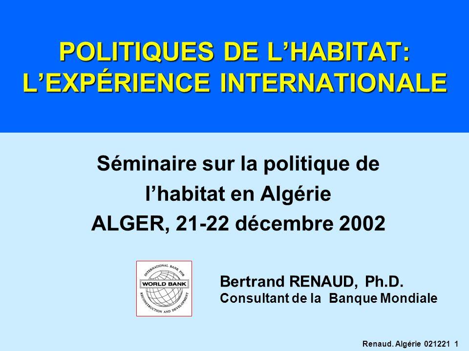POLITIQUES DE L'HABITAT: L'EXPÉRIENCE INTERNATIONALE