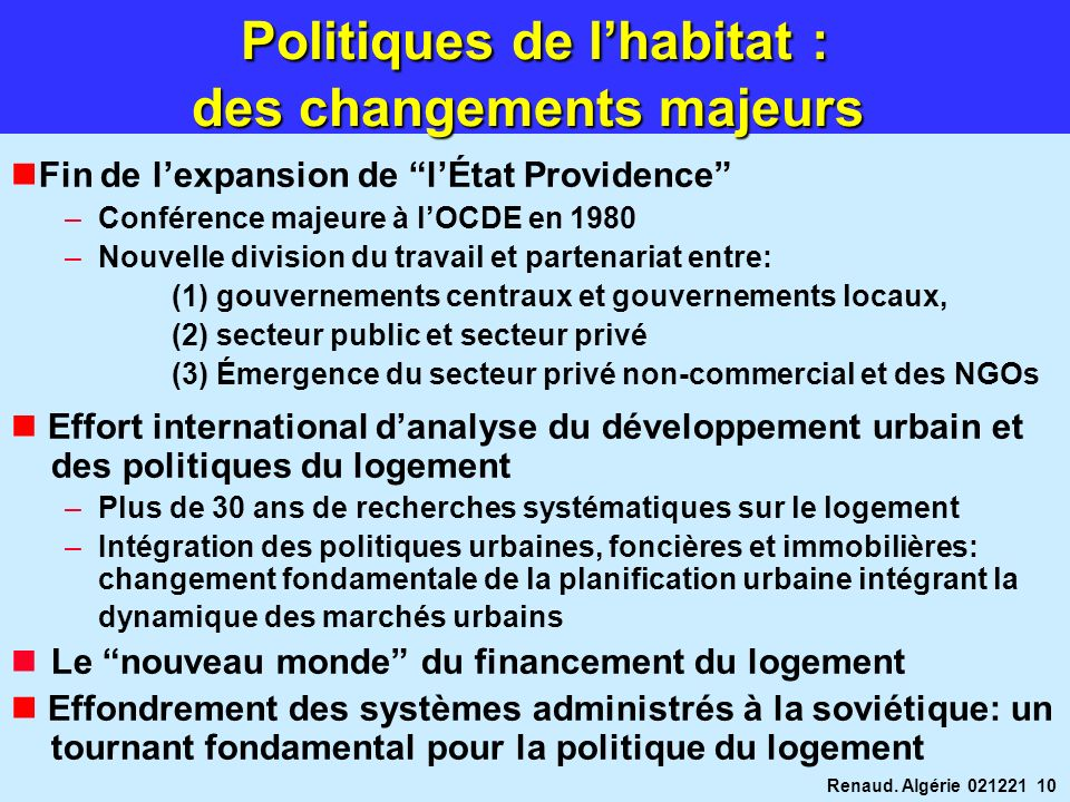 Politiques de l'habitat : des changements majeurs