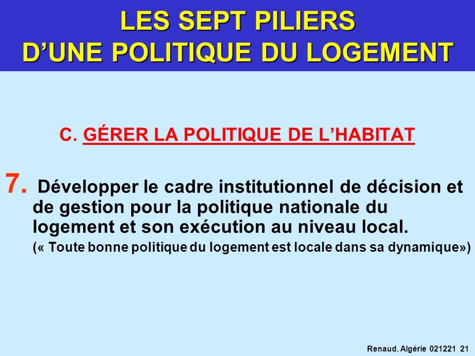 LES SEPT PILIERS D'UNE POLITIQUE DU LOGEMENT