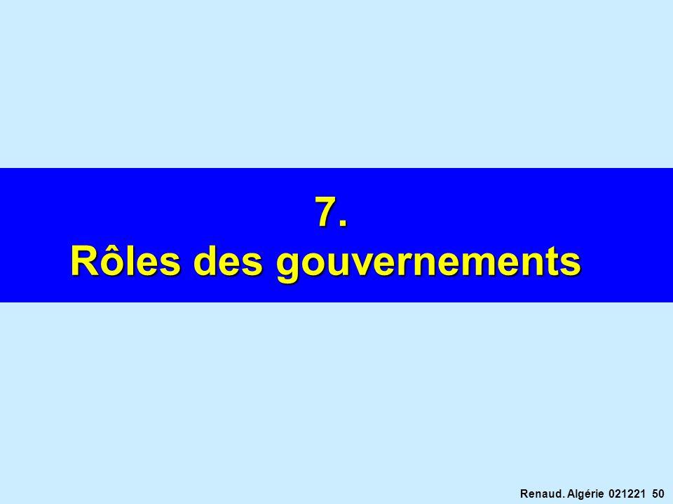 Rôles des gouvernements