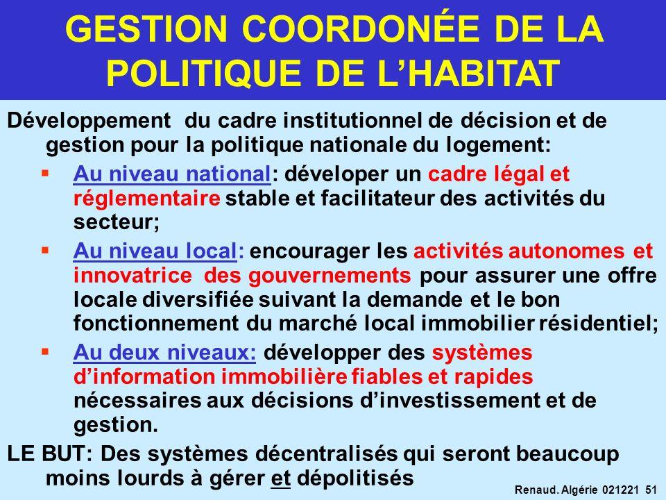 GESTION COORDONÉE DE LA POLITIQUE DE L'HABITAT