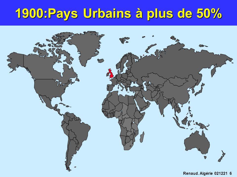 1900:Pays Urbains à plus de 50%
