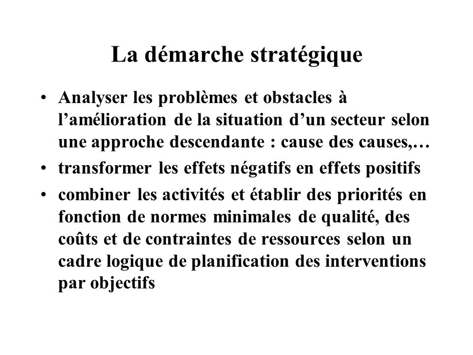 La démarche stratégique