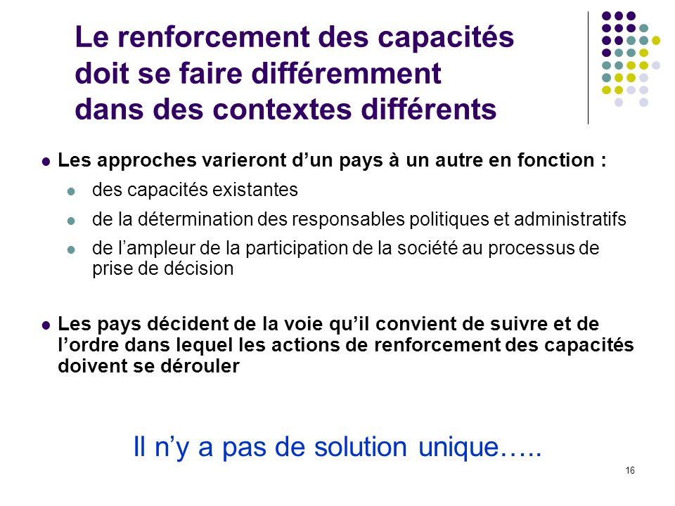 Il n'y a pas de solution unique…..