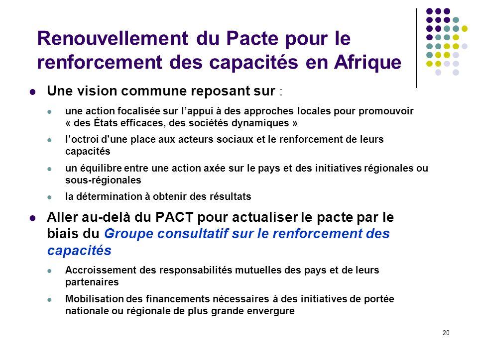 Renouvellement du Pacte pour le renforcement des capacités en Afrique
