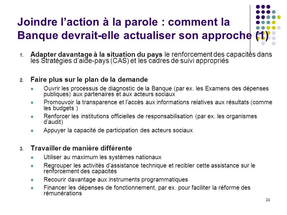 Joindre l'action à la parole : comment la Banque devrait-elle actualiser son approche (1)