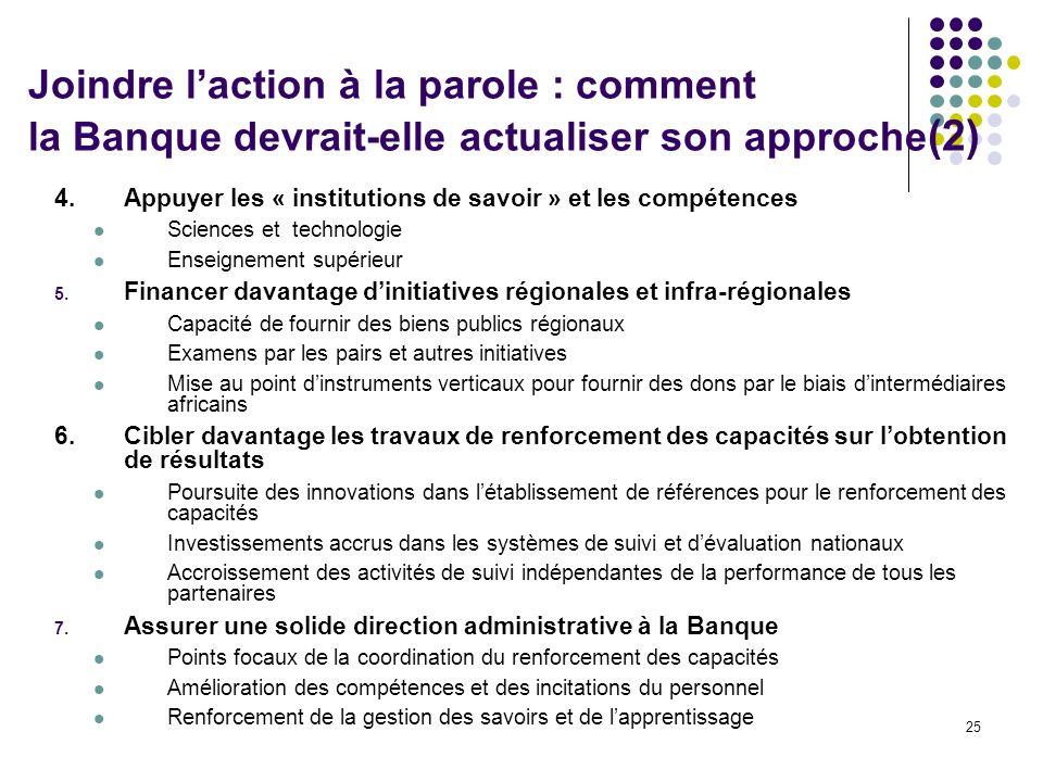Joindre l'action à la parole : comment la Banque devrait-elle actualiser son approche(2)