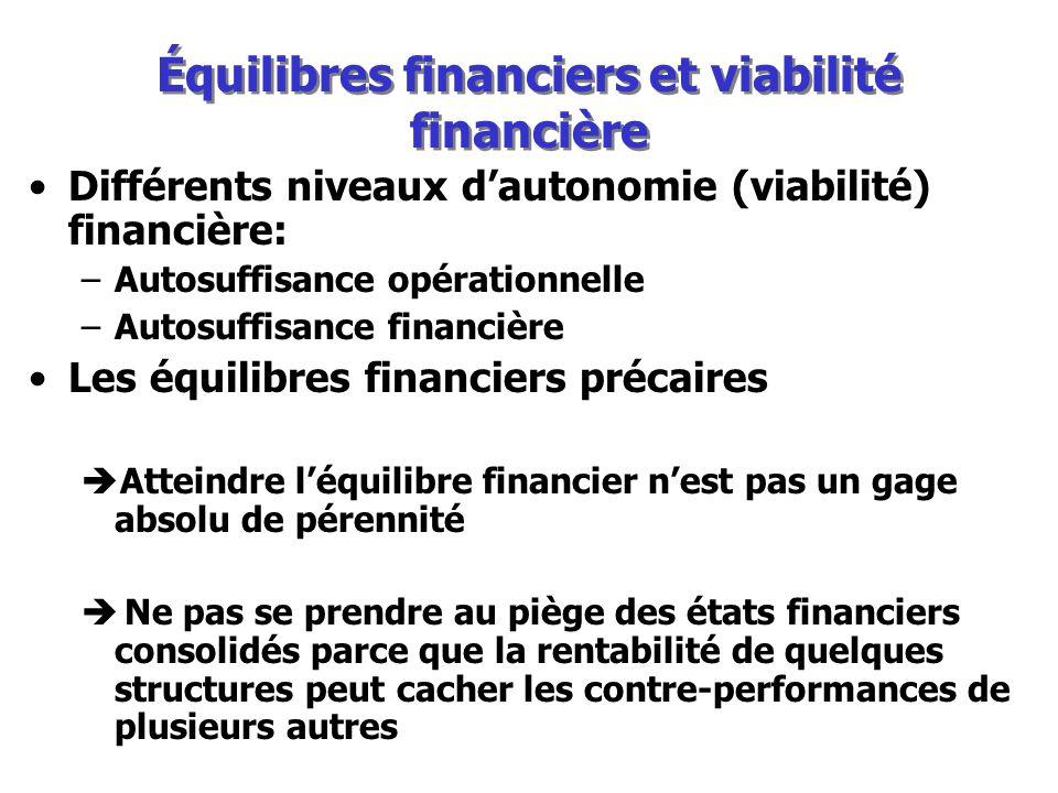 Équilibres financiers et viabilité financière