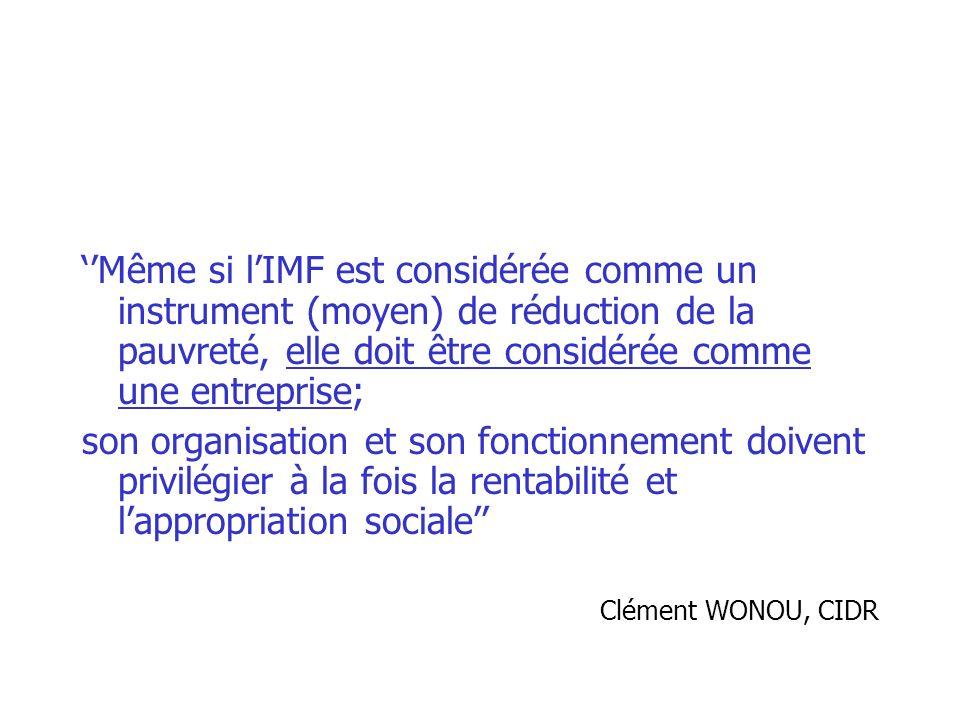 ''Même si l'IMF est considérée comme un instrument (moyen) de réduction de la pauvreté, elle doit être considérée comme une entreprise;