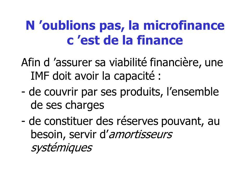 N 'oublions pas, la microfinance c 'est de la finance