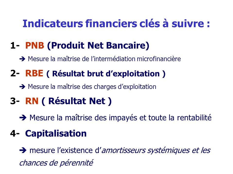 Indicateurs financiers clés à suivre :