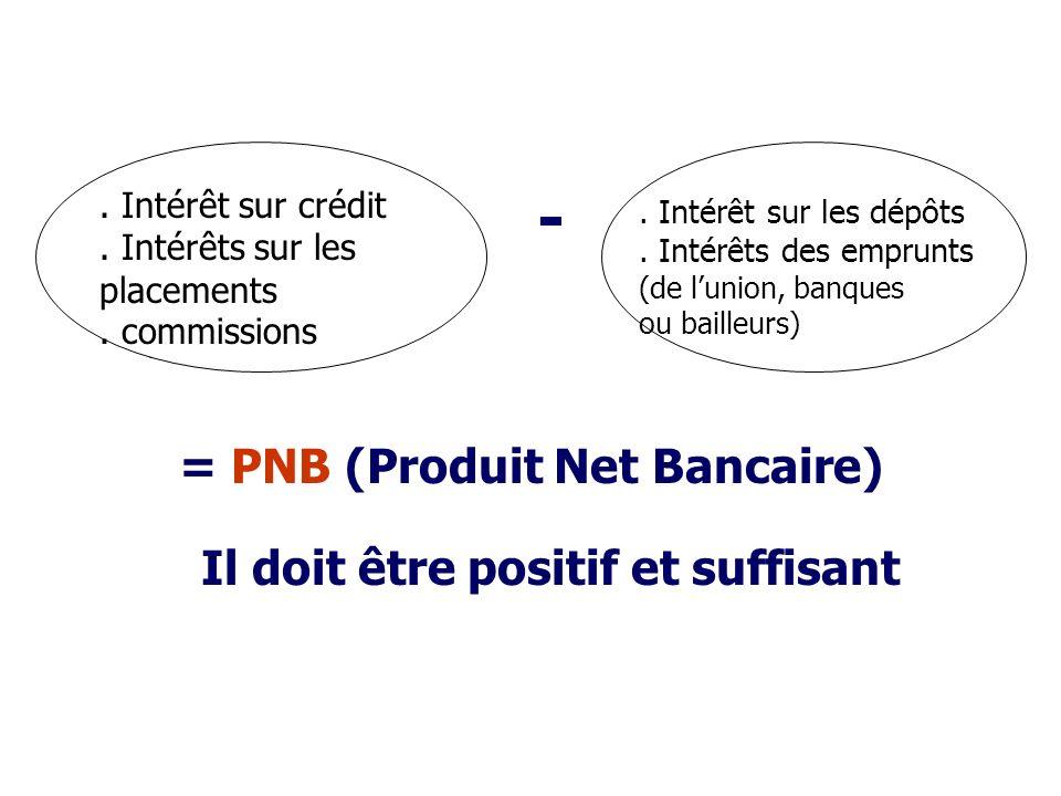 = PNB (Produit Net Bancaire) Il doit être positif et suffisant