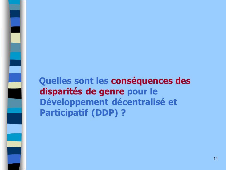 Quelles sont les conséquences des disparités de genre pour le Développement décentralisé et Participatif (DDP)