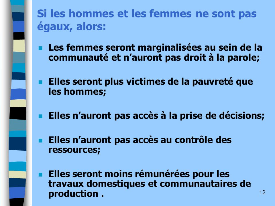 Si les hommes et les femmes ne sont pas égaux, alors:
