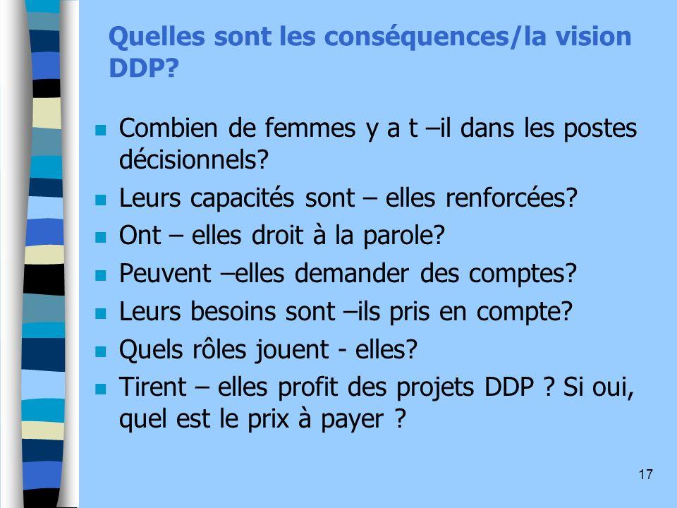 Quelles sont les conséquences/la vision DDP