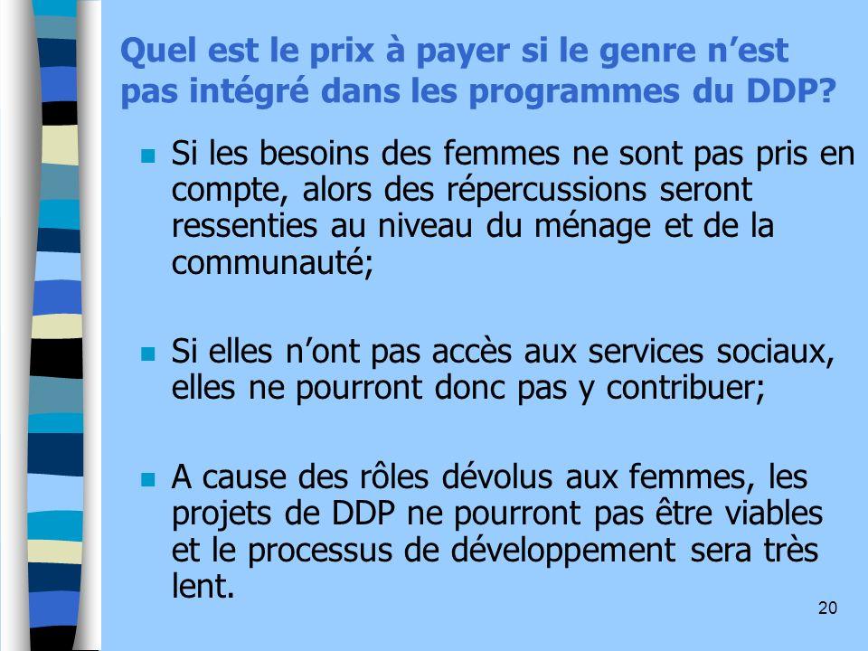 Quel est le prix à payer si le genre n'est pas intégré dans les programmes du DDP