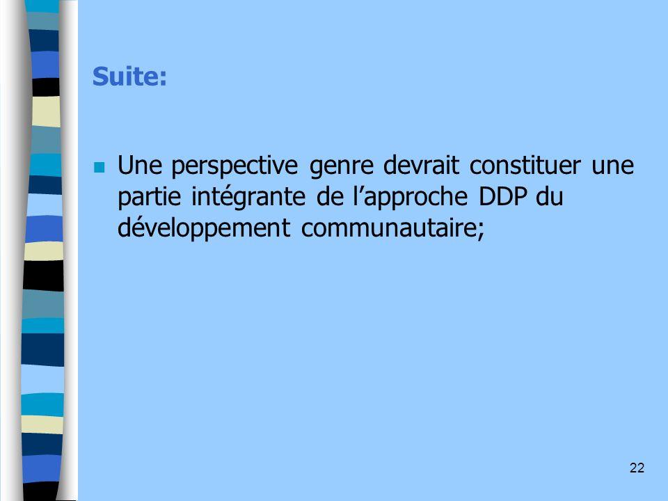 Suite: Une perspective genre devrait constituer une partie intégrante de l'approche DDP du développement communautaire;