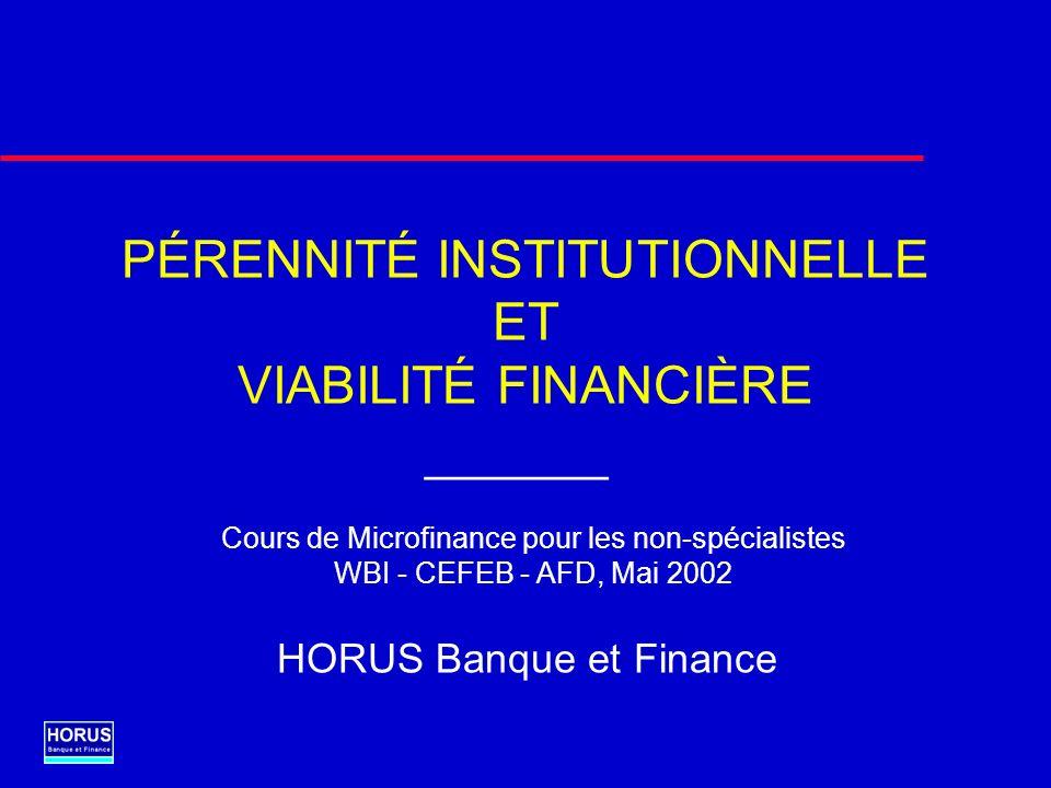 PÉRENNITÉ INSTITUTIONNELLE ET VIABILITÉ FINANCIÈRE