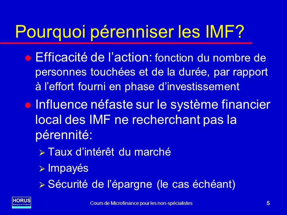 Pourquoi pérenniser les IMF