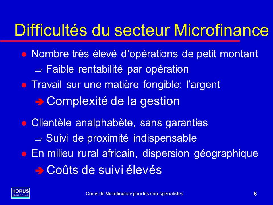 Difficultés du secteur Microfinance