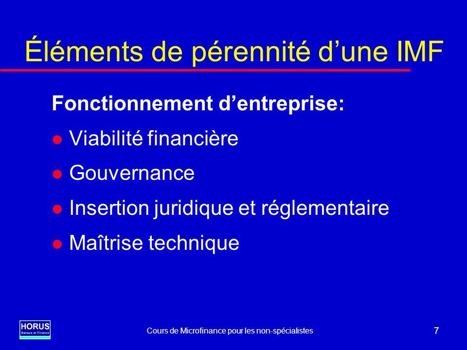Éléments de pérennité d'une IMF