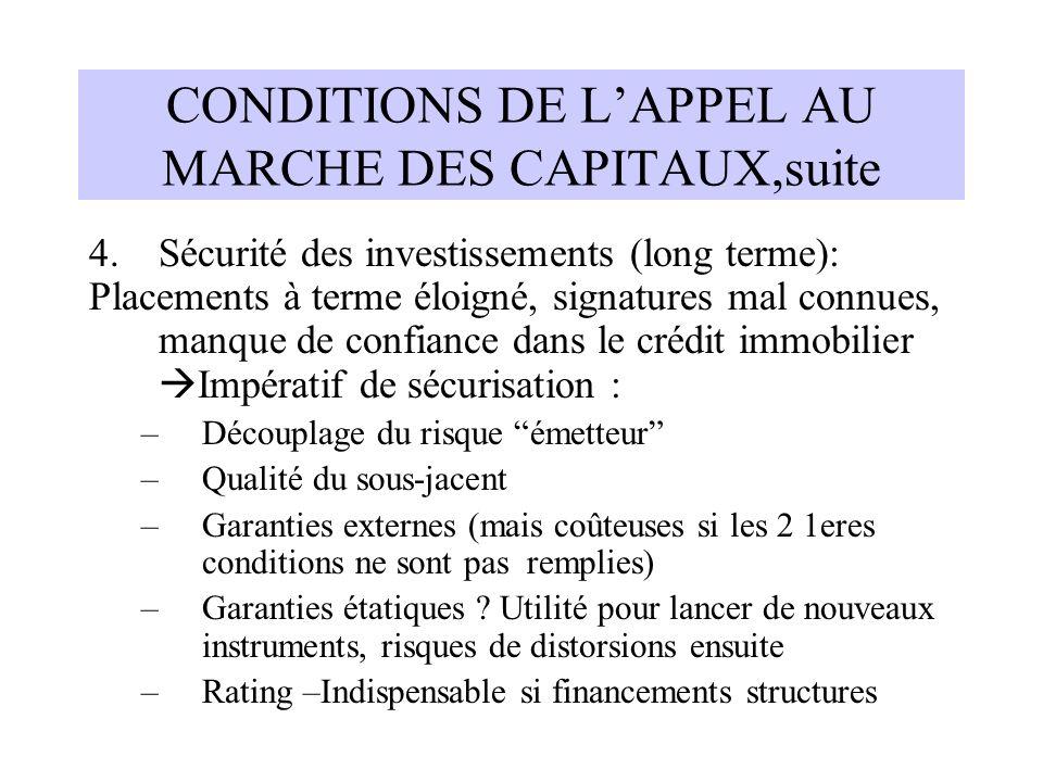 CONDITIONS DE L'APPEL AU MARCHE DES CAPITAUX,suite