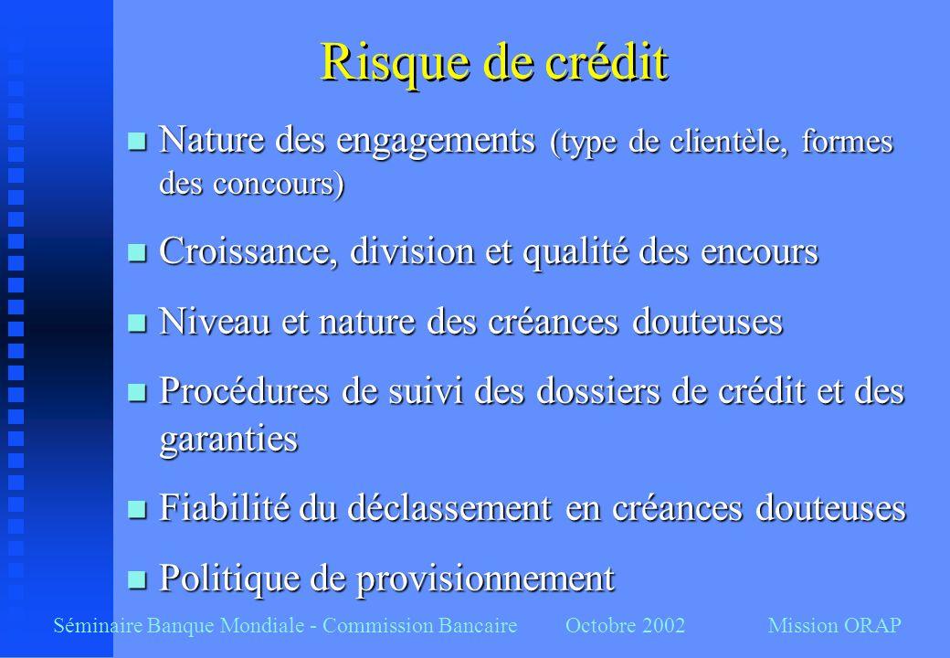 Risque de crédit Nature des engagements (type de clientèle, formes des concours) Croissance, division et qualité des encours.