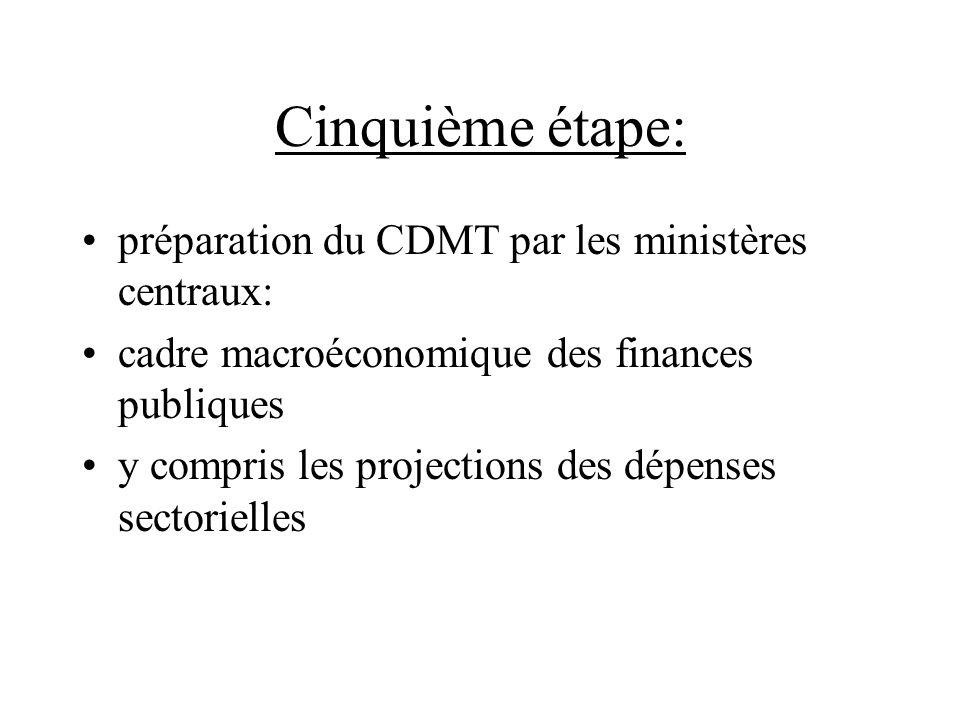 Cinquième étape: préparation du CDMT par les ministères centraux: