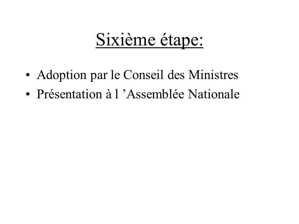 Sixième étape: Adoption par le Conseil des Ministres