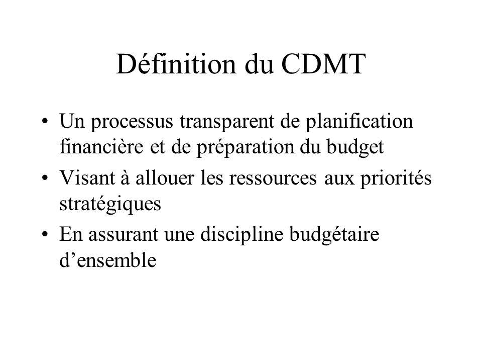 Définition du CDMT Un processus transparent de planification financière et de préparation du budget.
