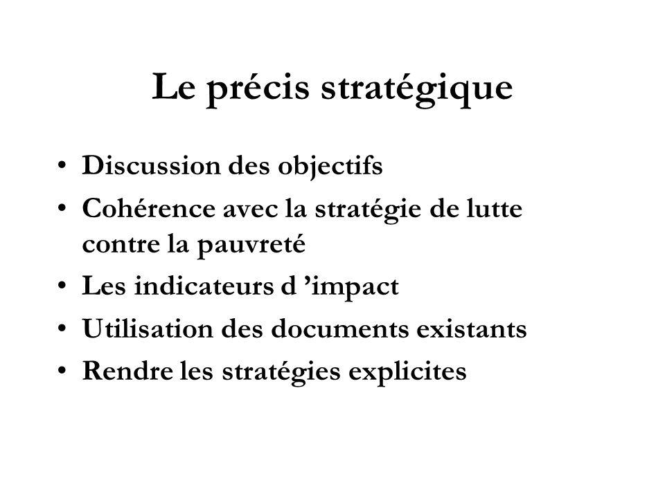 Le précis stratégique Discussion des objectifs