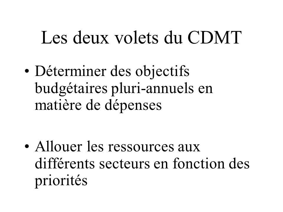 Les deux volets du CDMT Déterminer des objectifs budgétaires pluri-annuels en matière de dépenses.