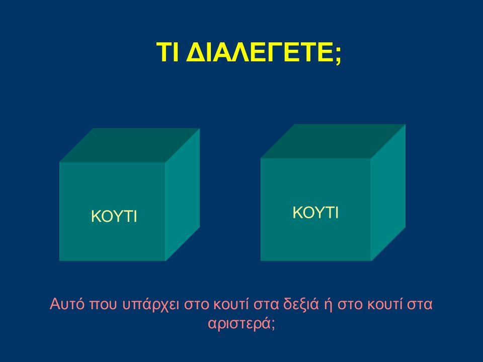 Αυτό που υπάρχει στο κουτί στα δεξιά ή στο κουτί στα αριστερά;
