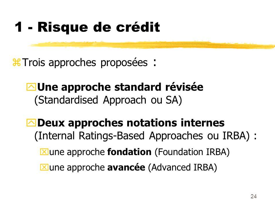 1 - Risque de crédit Trois approches proposées :