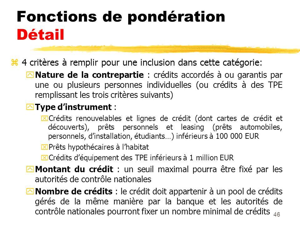 Fonctions de pondération Détail